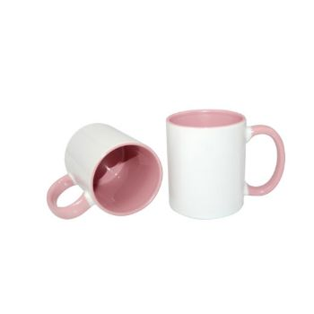 Personalised 2 Tone Mugs with Inner & Rim Pink Colour
